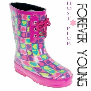 Kids Faux Fur Lined Rain Boots, K-1550 Pink Hearts